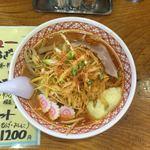 めん丸 - 料理写真:辛味噌野菜ー半麺普通麺エル辛+トッピングーニンニク辛ネギ  1080円