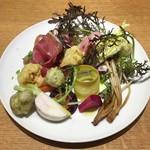 Piuma - 前菜の盛り合わせ(無農薬野菜 + ハム)