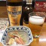 あかめ寿司 - ビールとお通し