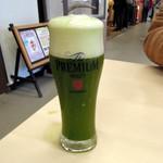 茶乃逢 - 抹茶生ビール600円