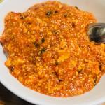 "76259318 - 名物""#麻婆豆腐丼""(¥600〈¥730〉)野菜スープ付"
