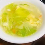 "76259321 - 名物""#麻婆豆腐丼""(¥600〈¥730〉)野菜スープ付"