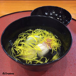 千松しま - アコウと粟餅、菊花の椀物