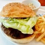 ムーンカフェ - MOON Cafe@本牧 シャーリー・ムーンバーガー 野菜を挟んで
