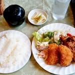 プレ・サレ - プレ・サレ@神栖 セット定食 クリームコロッケとしょうが焼き(1080円)