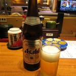 もりもり寿し - 瓶ビール(中瓶) 500円(税別) (2017.11)