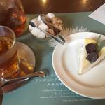 76287317 - イチジクのチーズケーキと紅茶のセット1300円!