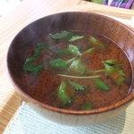 リナトキッチン - 赤味噌 みつば・厚揚げ・豆腐