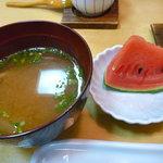 磯春 - お味噌汁とデザート(7月10日にお邪魔しました)