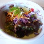ぎゅう丸茶寮 - 料理写真:グリーンレタス、水菜、人参、紫キャベツなど彩りが綺麗なサラダ♪