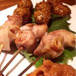 鶏と魚と野菜とMomiji - 串焼き盛り合わせ