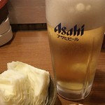 串まる - お通しのキャベツ&ピーナッツ味噌