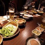隠れ菴 忍家 - 焼き枝豆と鶏唐揚げ