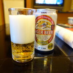 和心亭 豊月 - まずは冷蔵庫のビール