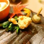和心亭 豊月 - 先付け:鱈子、野菜