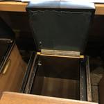 お好み焼 きじ - カウンターの席は跳ね上げて荷物が入ります。