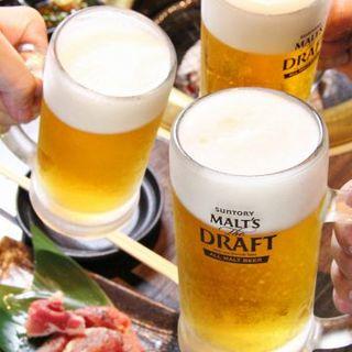生ビール&スパークリングワインも飲み放題の各種コース