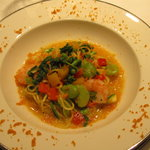 シャトン - 春野菜とカラスミのパスタ