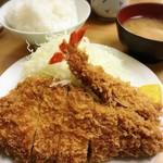 とんかつ 山家 - 上ロースかつ定食     ¥1200、  海老フライ     ¥270