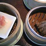 7649798 - 海鮮団子 クリスタルソースがけ と 豚の角煮ちまき