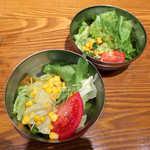 釜あげスパゲッティ すぱじろう - セットのサラダは、和風/マスタードドレッシングのどちらかを選べる