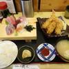 磯人 - 料理写真:刺身4種とエビフライ・カキフライ定食