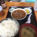 76493107 - 171020金 群馬 永井食堂 もつ煮定食590円