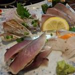 旬魚菜 しら川 - 刺身盛り合わせ(クロムツ、イナダ、赤やがら、ソウダガツオ)