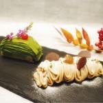 京の麩菓子屋 ゆふころろ - ※写真左「千代の菓実-玉露のミルクレープ-」 ※写真右「ささら栗-生麩のモンブラン-」