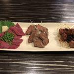 博多もつ鍋 いぶき - ハツ三昧 刺し・塩焼き・タレ焼(900円)