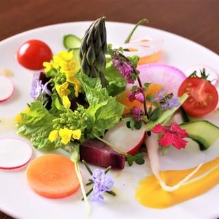 自社農園で栽培する無農薬・無化学肥料の新鮮野菜を豊富に使用