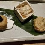 76515105 - そば三昧(そばがき天、そば豆腐、そば寿司)。