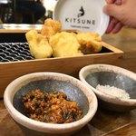天ぷらスタンド KITSUNE - とり天 肉味噌ラー油、トリュフ塩