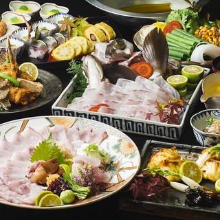 充実のコース料理。『忘年会プラン』『あら(くえ)鍋コース』