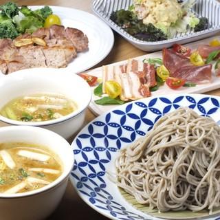 北海道産ひこま豚と新鮮魚介が楽しめるコースも充実。