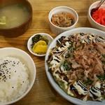 大納言 - お好み焼定食 ¥650