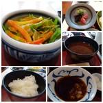 76577587 - ◆サラダ ◆ご飯・・ツヤがあり美味しい。 ◆天つゆは塩で頂きます。 ◆香の物。
