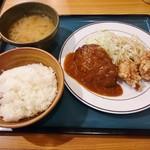 キッチンジロー - ハンバーグと若鶏の唐揚げ(ランチ)950円