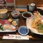 喜久寿司 - 天ぷらすしセット全景