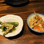 野菜ソムリエのお店 十祇家 - つきだし オグラの胡麻和え、金平 ¥400(1人)