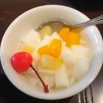 重慶茶樓 - ランチセットの杏仁豆腐
