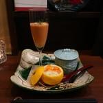 76593196 - お通しの柚子なます、人参のすりながし、ブルーチーズの茶碗蒸し