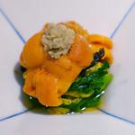 お料理 志ぶう - ウニ、京菊菜のお浸し