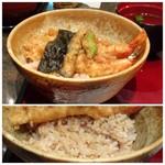 華元 - *天丼は「海老2尾」「しし唐」「海苔」の天ぷらが盛られ、天ぷらを先に天つゆに漬けているタイプ。 ご飯は「十穀米」にしましたが、天丼には白米の方がよかったような。(^^;)