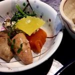 京寿し - 焼き明太子、飾り餅、ほうれん草の和え物