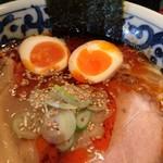 九段 斑鳩 - 煮玉子旨辛濃厚らー麺アップ