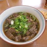 よしまる - 料理写真:よもぎ肉肉うどん(ノ´∀`*)