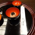 76628512 - 赤飯キャビア乗せに県木ヒバのお箸が付いて来ました