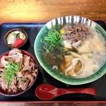 瀬戸内製麺710 - ひやあつ肉とろろ&牛めしセット