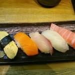 寿司丸忠 - Dセット740円(税別)ここに茶碗蒸し・赤だしが付きます。
